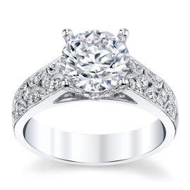 Divine 18k White Gold Diamond Engagement Ring Setting 3/8 ct. tw.