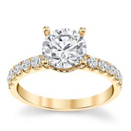 Divine 18k Yellow Gold Diamond Engagement Ring Setting 1/2 ct. tw.