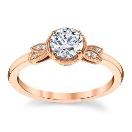 Kirk Kara 14k Rose Gold Diamond Engagement Ring Setting .03 ct. tw.