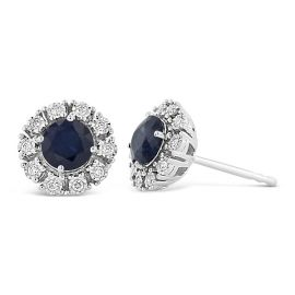 14k White Gold Blue Sapphire Earrings 1/8 ct. tw.