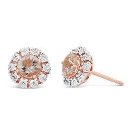 14k Rose and 14k White Gold Morganite Earrings 1/8 ct. tw.