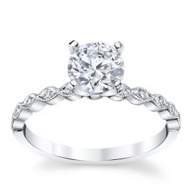 Coast Diamond 14k White Gold Diamond Engagement Ring Setting .07 ct. tw.