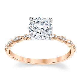 Coast Diamond 14k Rose and 14k White Gold Diamond Engagement Ring Setting .08 ct. tw.