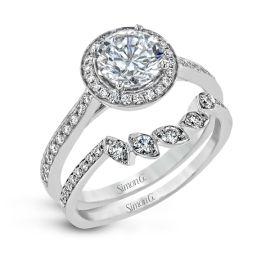Simon G. 18k White Gold Diamond Wedding Set Setting 3/8 ct. tw.