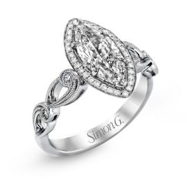 Simon G. 18k White Gold Diamond Engagement Ring Setting 1/8 ct. tw.