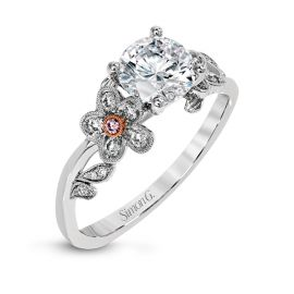 Simon G. 18k White Gold and 18k Rose Gold Diamond Engagement Ring Setting 1/6 ct. tw.