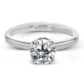 Simon G. 18k White Gold Diamond Engagement Ring Setting .06 ct. tw.