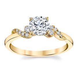 Kirk Kara 14k Yellow Gold Diamond Engagement Ring Setting 1/10 ctw
