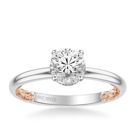 ArtCarved 14k White Gold and 14k Rose Gold Diamond Engagement Ring Setting .08 ct. tw.