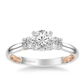ArtCarved 14k White Gold and 14k Rose Gold Engagement Ring Setting 1/2 ct. tw.