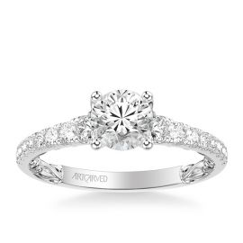 ArtCarved 14k White Gold Engagement Ring Setting 3/8 ct. tw.