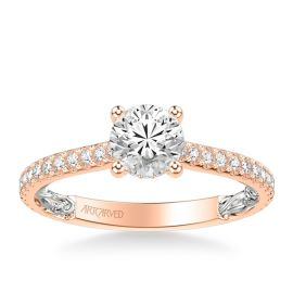 ArtCarved 14k Rose and 14k White Gold Diamond Engagement Ring Setting 3/8 ct. tw.