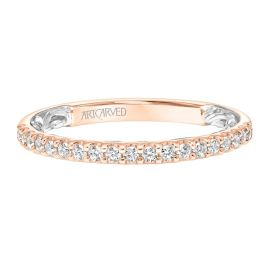 ArtCarved 14k Rose and 14k White Gold Diamond Wedding Band 3/8 ct. tw.