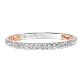 ArtCarved 14k White Gold and 14k Rose Gold Diamond Wedding Band 1/5 ct. tw.