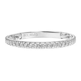 ArtCarved 14k White Gold Diamond Wedding Band 1/4 ct. tw.