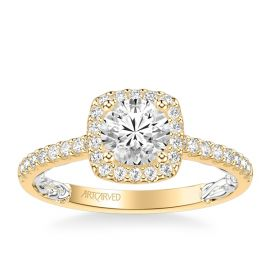 ArtCarved 14k Yellow Gold and 14k White Diamond Engagement Ring Setting 1/3 ct. tw.