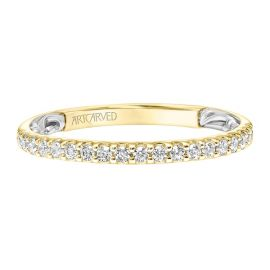 ArtCarved 14k Yellow Gold and 14k White Diamond Wedding Band 1/4 ct. tw.