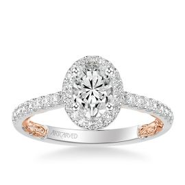 ArtCarved 14k White Gold and 14k Rose Gold Diamond Engagement Ring Setting 1/3 ct. tw.