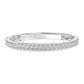 ArtCarved 14k White Gold Diamond Wedding Band 1/8 ct. tw.