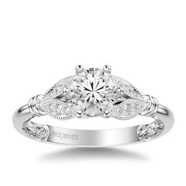 ArtCarved 14k White Gold Diamond Engagement Ring Setting 1/10 ct. tw.