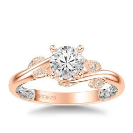 ArtCarved 14k Rose and 14k White Gold Diamond Engagement Ring Setting 1/10 ct. tw.