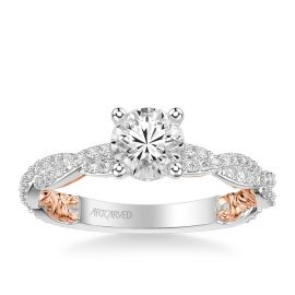 ArtCarved 14k White Gold and 14k Rose Gold Diamond Engagement Ring Setting 3/8 ct. tw.