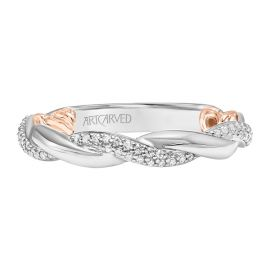 ArtCarved 14k White Gold and 14k Rose Gold Diamond Wedding Band 1/4 ct. tw.