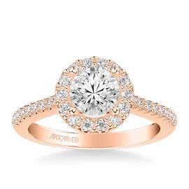ArtCarved 14k Rose Gold Diamond Engagement Ring Setting 1/2 ct. tw.