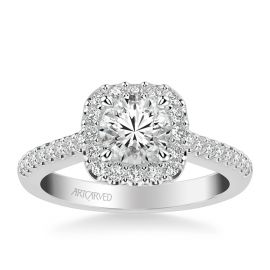 ArtCarved 14k White Gold Diamond Engagement Ring Setting 1/2 ct. tw.