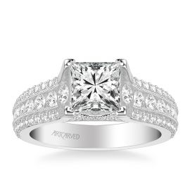 ArtCarved 14k White Gold Diamond Engagement Ring Setting 1 ct. tw.