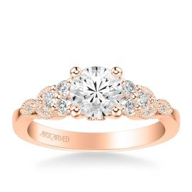 ArtCarved 14k Rose Gold Diamond Engagement Ring Setting 1/4 ct. tw.