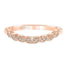 ArtCarved 14k Rose Gold Diamond Wedding Band .04 ct. tw.