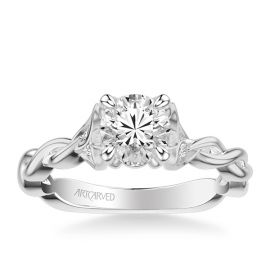 ArtCarved 14k White Gold Diamond Engagement Ring Setting .05 ct. tw.