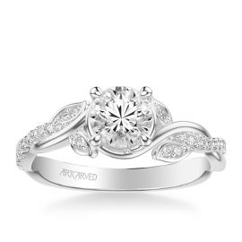 ArtCarved 14k White Gold Diamond Engagement Ring Setting 1/7 ct. tw.