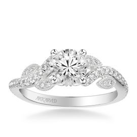 ArtCarved 14k White Gold Diamond Engagement Ring Setting 1/4 ct. tw.