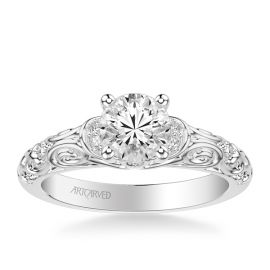 ArtCarved 14k White Gold Diamond Engagement Ring Setting 1/8 ct. tw.