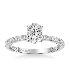ArtCarved 14k White Gold Diamond Engagement Ring Setting 1/5 ct. tw.