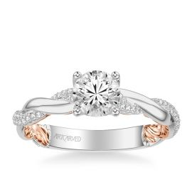 ArtCarved 14k White Gold and 14k Rose Gold Diamond Engagement Ring Setting 1/4 ct. tw.