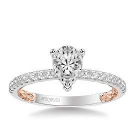 ArtCarved 14k White Gold and 14k Rose Gold Diamond Engagement Ring Setting 1/5 ct. tw.