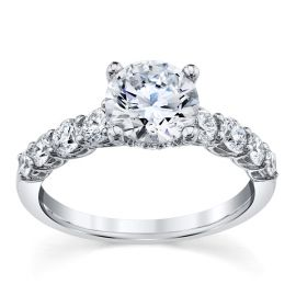 ArtCarved 14k White Gold Diamond Engagement Ring Setting 3/4 ct. tw.