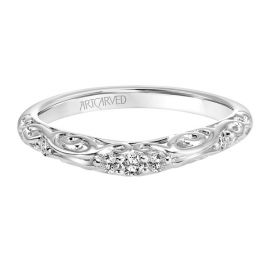ArtCarved 14k White Gold Diamond Wedding Band 1/10 ct. tw.