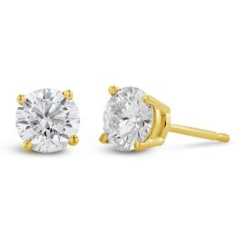Eternalle Lab-Grown 14Kt Yellow Gold Solitaire Earrings 1 cttw
