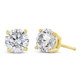 Eternalle Lab-Grown 14k Yellow Gold Solitaire Earrings 2 ct. tw.