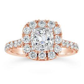 Henri Daussi 14k Rose Gold Diamond Engagement Ring 1 3/4 ct. tw.
