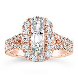 Henri Daussi 14k Rose Gold Diamond Engagement Ring 2 3/4 ct. tw.