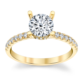 Suns and Roses 14k Yellow Gold and 14k White Diamond Engagement Ring Setting 1/4 ct. tw.