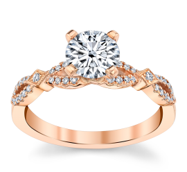 RB Signature 14k Rose Gold Diamond Engagement Ring Setting 1/8 ct. tw.