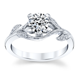 RB Signature 14k White Gold Diamond Engagement Ring Setting .04 ct. tw.