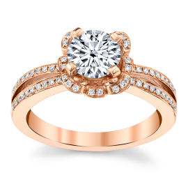 RB Signature 14k Rose Gold Diamond Engagement Ring Setting 1/5 ct. tw.