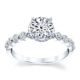 Divine 18k White Gold Diamond Engagement Ring Setting 1/2 ct. tw.